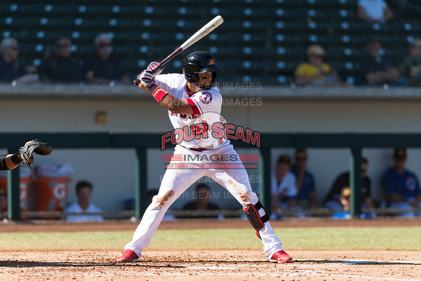 Mesa Solar Sox third baseman Roberto Baldoquin (24), of the Los Angeles Angels organization, at bat during an Arizona Fall League game against the Salt River Rafters at Sloan Park on October 30, 2018 in Mesa, Arizona. Salt River defeated Mesa 14-4 . (Zachary Lucy/Four Seam Images)