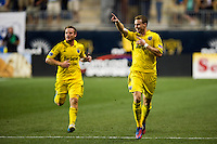Josh Williams (3) (R) of the Columbus Crew celebrates scoring. The Columbus Crew defeated the Philadelphia Union 2-1 during a Major League Soccer (MLS) match at PPL Park in Chester, PA, on August 29, 2012.