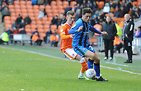 Gillingham's Darren Oldaker under pressure from Blackpool's Chris Long<br /> <br /> Photographer Kevin Barnes/CameraSport<br /> <br /> The EFL Sky Bet League One - Blackpool v Gillingham - Saturday 4th May 2019 - Bloomfield Road - Blackpool<br /> <br /> World Copyright © 2019 CameraSport. All rights reserved. 43 Linden Ave. Countesthorpe. Leicester. England. LE8 5PG - Tel: +44 (0) 116 277 4147 - admin@camerasport.com - www.camerasport.com