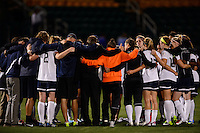 Sky Blue FC players and coaches huddle after the loss to the Western New York Flash. The Western New York Flash defeated Sky Blue FC 2-0 during a National Women's Soccer League (NWSL) semifinal match at Sahlen's Stadium in Rochester, NY, on August 24, 2013.