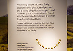 Gold drum-shaped necklace beads from Upton Lovell. With permission of Wiltshire Museum, Devizes, England, UK