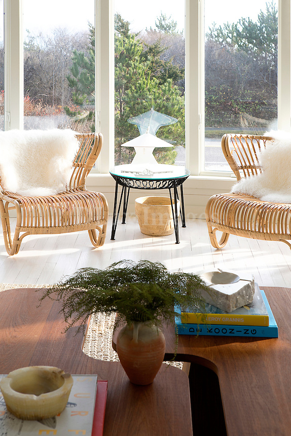 Bamboo armchairs in the living room