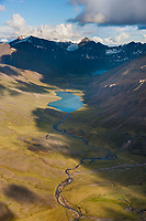 Aerial of the Brooks Range mountains, Arctic Alaska.