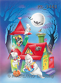 Interlitho, Lorella, REALISTIC ANIMALS, Halloween, paintings, house, forest, ghosts(KL3663,#A#)