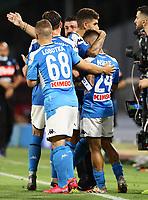 5th July 2020; Stadio San Paolo, Naples, Campania, Italy; Serie A Football, Napoli versus Roma; Lorenzo Insigne of Napoli celebrates after scoring for 2-1 with team mate Mertens in minute 82 for the win