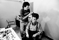 Montreal (qc) CANADA - file Photo - 1991 - <br /> <br /> <br />  - Festival Juste Pour Rire 1991 - Rodrigue  Tremblay, Cirque du Tonerre getting his make up backstage (exclusive photo)