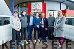 Pictured at Kellihers Garage, Tralee with Katie Taylor on Sunday afternoon, were the Kelliher family l-r: John Kelliher, Aisling Kelliher, Tim Kelliher, Katie Taylor, Aine Kelliher, Ted Kelliher and Tracy Kelliher.