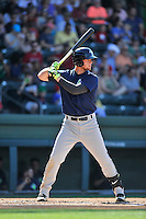Designated hitter Jeff Diehl (24) of the Columbia Fireflies bats in a game against the Greenville Drive on Sunday, May 8, 2016, at Fluor Field at the West End in Greenville, South Carolina. Greenville won, 5-4. (Tom Priddy/Four Seam Images)