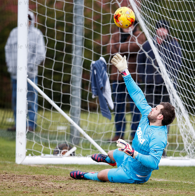 Rangers keeper Cammy Bell saves a penalty kick as he makes his return to action after 7 months sidelined by a shoulder injury as the u20s take on Inverness at Murray Park