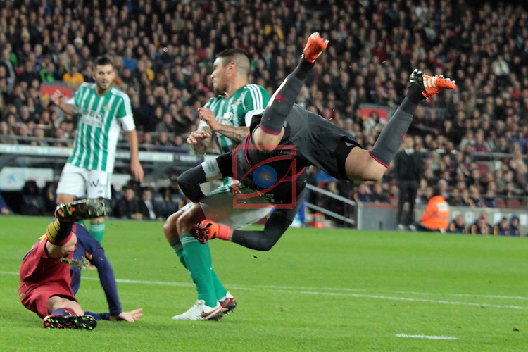 League BBVA 2015/2016. Game: 17.<br /> FC Barcelona vs Real Betis: 4-0.<br /> Lionel Messi vs Adan.