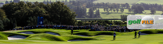 Bunkers guarding the 8th green during Day 1 Foursomes at the Solheim Cup 2019, Gleneagles Golf CLub, Auchterarder, Perthshire, Scotland. 13/09/2019.<br /> Picture Thos Caffrey / Golffile.ie<br /> <br /> All photo usage must carry mandatory copyright credit (© Golffile | Thos Caffrey)