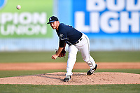 Asheville Tourists starting pitcher Ty Culbreth (38) delivers a pitch during a game against the Greensboro Grasshoppers at McCormick Field on April 28, 2017 in Asheville, North Carolina. The Grasshoppers defeated the Tourists 7-4. (Tony Farlow/Four Seam Images)