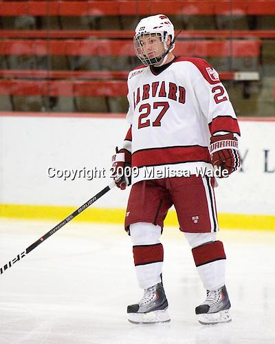 Michael Biega (Harvard - 27) - The St. Lawrence University Saints defeated the Harvard University Crimson 3-2 on Friday, November 20, 2009, at the Bright Hockey Center in Cambridge, Massachusetts.