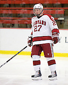 Michael Biega (Harvard - 27) - The St. Lawrence University Saints defeated the Harvard University Crimson 3-2 on Friday, November 20, 2009, at the Bright Hockey Center in Cambridge, Massachusetts.