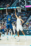 Youssoupha Fall shoots for two points against Eddy Tavares during Real Madrid vs Kirolbet Baskonia game of Liga Endesa. 19 January 2020. (Alterphotos/Francis Gonzalez)