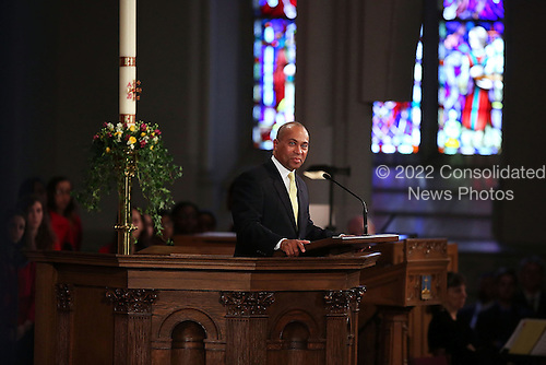 "Massachusetts Governor Deval Patrick speaks at an interfaith prayer service for victims of the Boston Marathon attack titled ""Healing Our City,"" at the Cathedral of the Holy Cross on April 18, 2013 in Boston, Massachusetts. Authorities investigating the attack on the Boston Marathon have shifted their focus to locating the person who placed a black bag down and walked away just before the bombs went off. The twin bombings at the 116-year-old Boston race, which occurred near the marathon finish line, resulted in the deaths of three people and more than 170 others injured.  .Credit: Spencer Platt / Pool via CNP"