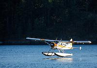 Kenmore Air seaplane taking off from Friday Harbor, San Juan Islands, San Juan County, Washington, USA