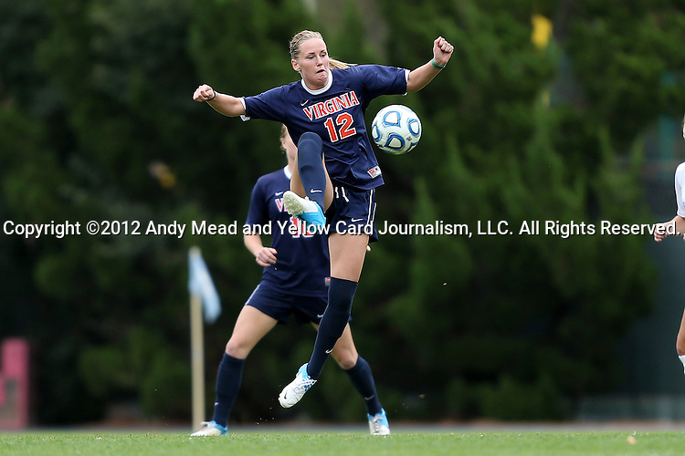 28 October 2012: Virginia's Shasta Fisher. The University of North Carolina Tar Heels played the University of Virginia Cavaliers at Fetzer Field in Chapel Hill, North Carolina in a 2012 NCAA Division I Women's Soccer game. Virginia defeated UNC 1-0 in their Atlantic Coast Conference quarterfinal match.