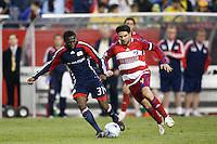 New England Revolution midfielder Sainey Nyassi (31) and FC Dallas defender Duilio Davino (4). The New England Revolution defeated FC Dallas 2-1 during a Major League Soccer match at Gillette Stadium in Foxborough, MA, on June 6, 2008.
