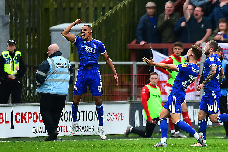 Ipswich Town's Kayden Jackson celebrates scoring his side's first goal <br /> <br /> Photographer Richard Martin-Roberts/CameraSport<br /> <br /> The EFL Sky Bet League One - Fleetwood Town v Ipswich Town - Saturday 5th October 2019 - Highbury Stadium - Fleetwood<br /> <br /> World Copyright © 2019 CameraSport. All rights reserved. 43 Linden Ave. Countesthorpe. Leicester. England. LE8 5PG - Tel: +44 (0) 116 277 4147 - admin@camerasport.com - www.camerasport.com