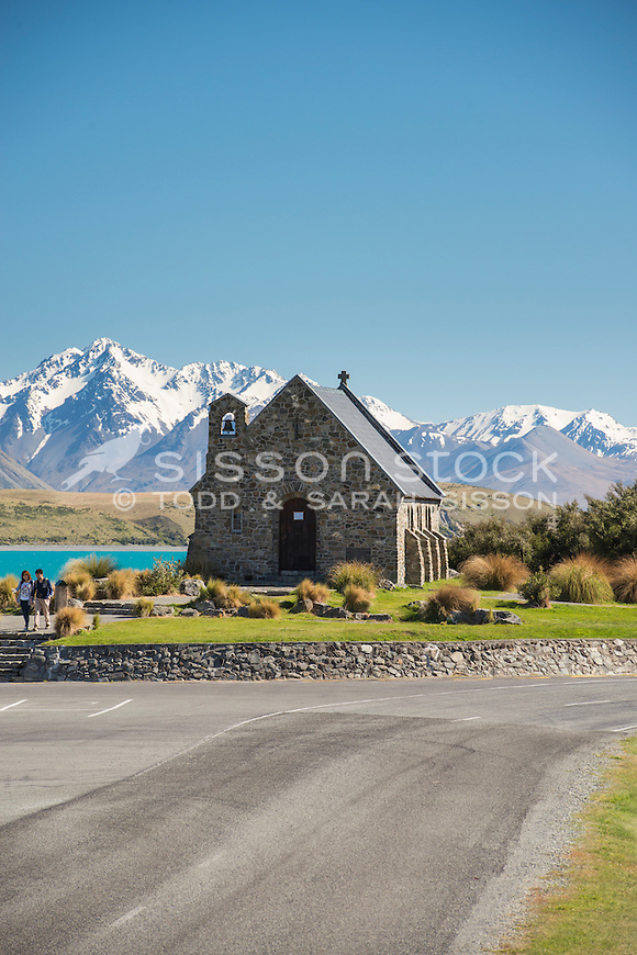 Church of the Good Shepherd, Lake Tekapo, Mackenzie Country, Canterbury,New Zealand - stock photo, canvas, fine art print