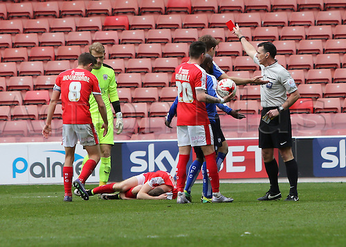 09.04.2016. Oakwell, Barnsley, England. Skybet League One. Barnsley versus Chesterfield. Chesterfields Jamal Campbell-Ryce is shown a 2nd yellow card and then red and is sent off