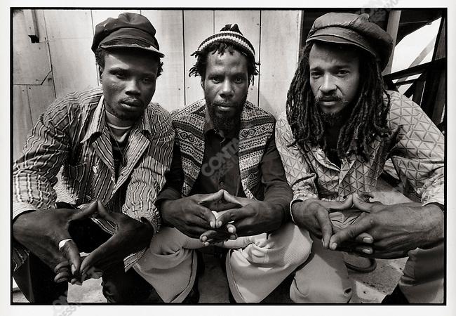 Ras Michael and the Sons of Negus (L: Ras Sidney; R: Kiddus I) Ocho Rios, Jamaica. March 1976