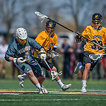 16 April 2016: University of Vermont Catamount Face Off specialist Luc LeBlanc, a Junior from Essex, VT, in action against the University of Maryland, Baltimore County Retrievers at Virtue Field in Burlington, Vermont. The Catamounts defeated the Retrievers 14-10 in NCAA Division I play. Mandatory Credit: Ed Wolfstein Photo *** RAW (NEF) Image File Available ***