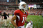 18 Jan 2009: Arizona Cardinals wide receiver Larry Fitzgerald #11 reacts after the NFC Championship game against the Philadelphia Eagles on January 18th, 2009. The Cardinals won 32-25 at University of Phoenix Stadium in Glendale, Arizona.