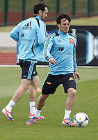 POLAND - Gniewino - 06 JUNE 2012 - Spain Training Session at Gniewino. Players Juanfran and David Silva during the training session.