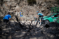 Luis Leon Sanchez (ESP/Astana) up the Puerto de la Morcuera, riding through a stretch that was hit by some wildfire not too long before<br /> <br /> Stage 18: Colmenar Viejo to Becerril de la Sierra (178km)<br /> La Vuelta 2019<br /> <br /> ©kramon