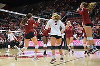 STANFORD, CA - September 9, 2018: Meghan McClure, Audriana Fitzmorris, Morgan Hentz, Tami Alade, Kathryn Plummer, Jenna Gray at Maples Pavilion. The Stanford Cardinal defeated #1 ranked Minnesota 3-1 in the Big Ten / PAC-12 Challenge.