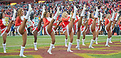 The Washington Redskins cheerleaders perform at the two-minute warning in the fourth quarter against the Buffalo Bills at FedEx Field in Landover, Maryland on Sunday, December 20, 2015.  The Redskins won the game 35-25.<br /> Credit: Ron Sachs / CNP