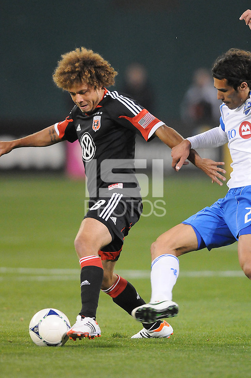 D.C. United midfielder Nick DeLeon (18) D.C. United tied The Montreal Impact 1-1, at RFK Stadium, Wednesday April 18 , 2012.