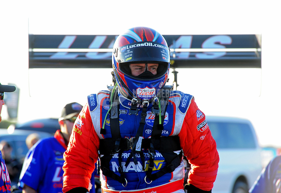 Sept. 23, 2011; Ennis, TX, USA: NHRA top fuel dragster driver Shawn Langdon during qualifying for the Fall Nationals at the Texas Motorplex. Mandatory Credit: Mark J. Rebilas-