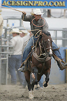 26 Aug 2010:  Russell Cardoza scored a time of 11.9 in the slack Tie Down Roping competition at the Kitsap County Stampede Wrangle Million Dollar PRCA Silver Rodeo Tour Bremerton, Washington.