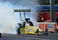 Jan. 16, 2013; Jupiter, FL, USA: NHRA top fuel dragster driver Morgan Lucas during testing at the PRO Winter Warmup at Palm Beach International Raceway.  Mandatory Credit: Mark J. Rebilas-