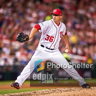7 October 2017: Washington Nationals pitcher Sammy Solis on the mound in the second game of the NLDS against the Chicago Cubs at Nationals Park in Washington, DC. The Nationals rallied to defeat the Cubs 6-3 and even their best of five Postseason series at one game apiece. Mandatory Credit: Ed Wolfstein Photo *** RAW (NEF) Image File Available ***