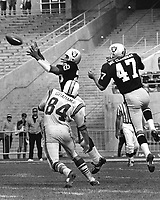 Oakland Raiders Howie Williams intercepts pass,.#47 Kent McCloughan (photo/Ron Riesterer)