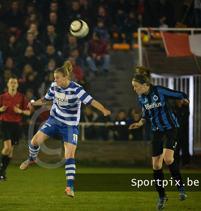 20140326 - AALTER , BELGIUM : duel pictured between Tine De Caigny (r) and Gent's Maaike Trommelmans (l)  during the soccer match between the women teams of Club Brugge Vrouwen  and AA Gent  Ladies , on the 21th matchday of the BeNeleague competition Friday 14 March 2014 in Aalter. PHOTO DAVID CATRY