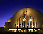 The Cincinnati Museum Center And Union Terminal Train Station At Night, Cincinnati Ohio, USA