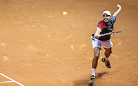SAO PAULO, SP, 13 FEVEREIRO 2013 - BRASIL OPEN TENIS -  O tenista Jeremy Chardy (FRA) camisa branca em lance contra o tenis Martin Alund (ARG) camisa escura durante partida válida pelo Brasil Open 2013, no ginásio do Ibirapuera, zona sul da capital paulista, nesta quarta-feira, 13. (FOTO: VANESSA CARVALHO / BRAZIL PHOTO PRESS).