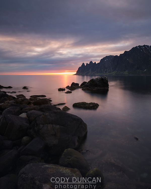 Setting sun across Ersfjorden, Senja, Norway