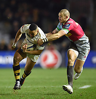 Marcus Watson of Wasps is tackled by Mike Brown of Harlequins. European Rugby Champions Cup match, between Harlequins and Wasps on January 13, 2018 at the Twickenham Stoop in London, England. Photo by: Patrick Khachfe / JMP