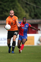 Tom Denton of Chesterfield and Liam Gordon of Dagenham and Redbridge during Dagenham & Redbridge vs Chesterfield, Vanarama National League Football at the Chigwell Construction Stadium on 15th September 2018