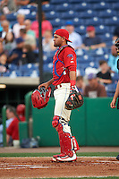 Clearwater Threshers catcher Gabriel Lino (7) during a game against the Charlotte Stone Crabs on April 12, 2016 at Bright House Field in Clearwater, Florida.  Charlotte defeated Clearwater 2-1.  (Mike Janes/Four Seam Images)
