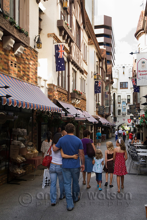 Shoppers browse the shops in London Court.  Perth, Western Australia, AUSTRALIA.
