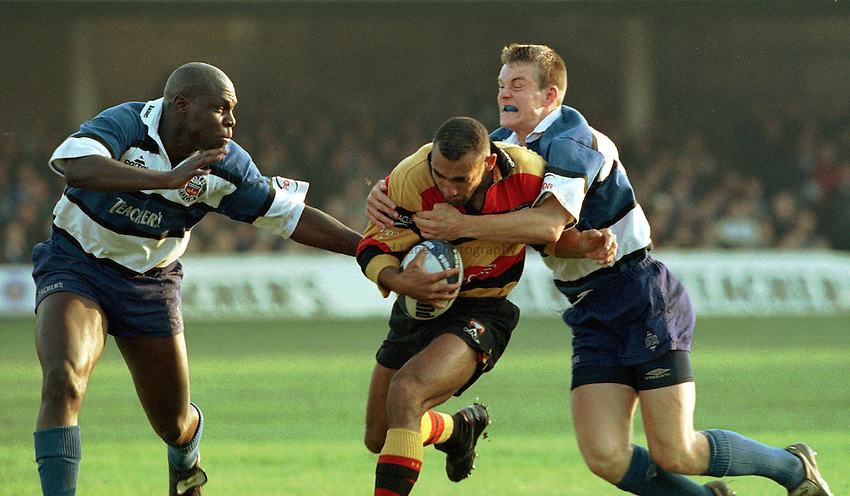 Photo: Ken Brown.1.11.97 Bath v Richmond.Left to Right-Adedayo Adebayo-Spencer Brown-Matt Perry