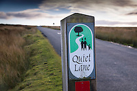 Quiet lane sign, Forest of Bowland near Bentham, Lancaster.