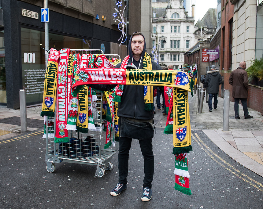 A street vendor selling scarves outside of the stadium<br /> <br /> Photographer Simon King/CameraSport<br /> <br /> International Rugby Union - 2017 Under Armour Series Autumn Internationals - Wales v Australia - Saturday 11th November 2017 - Principality Stadium - Cardiff<br /> <br /> World Copyright &copy; 2017 CameraSport. All rights reserved. 43 Linden Ave. Countesthorpe. Leicester. England. LE8 5PG - Tel: +44 (0) 116 277 4147 - admin@camerasport.com - www.camerasport.com